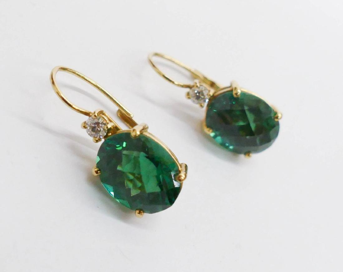 Pair Lady's 13ctw Green Tourmaline & Diamond Earrings - 3