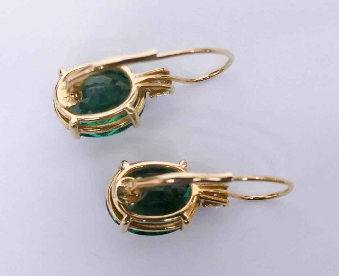 Pair Lady's 13ctw Green Tourmaline & Diamond Earrings - 4