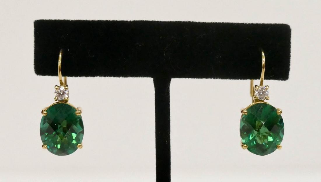 Pair Lady's 13ctw Green Tourmaline & Diamond Earrings - 5