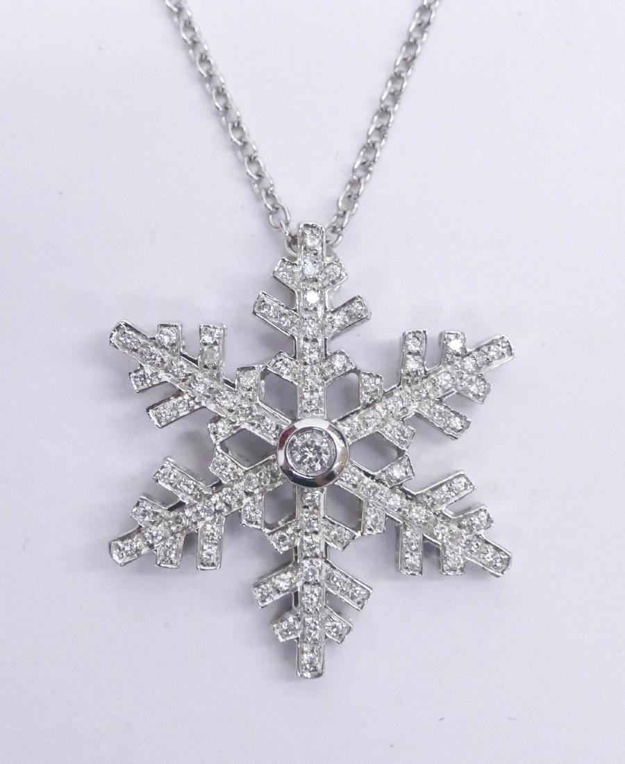 Craig Drake 18k Diamond Snowflake Pendant Necklace