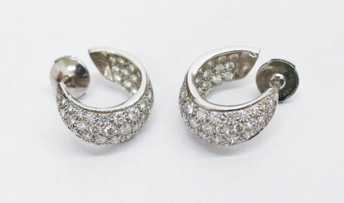 Pair Lady's Platinum & Diamond Hoop Earrings .75''