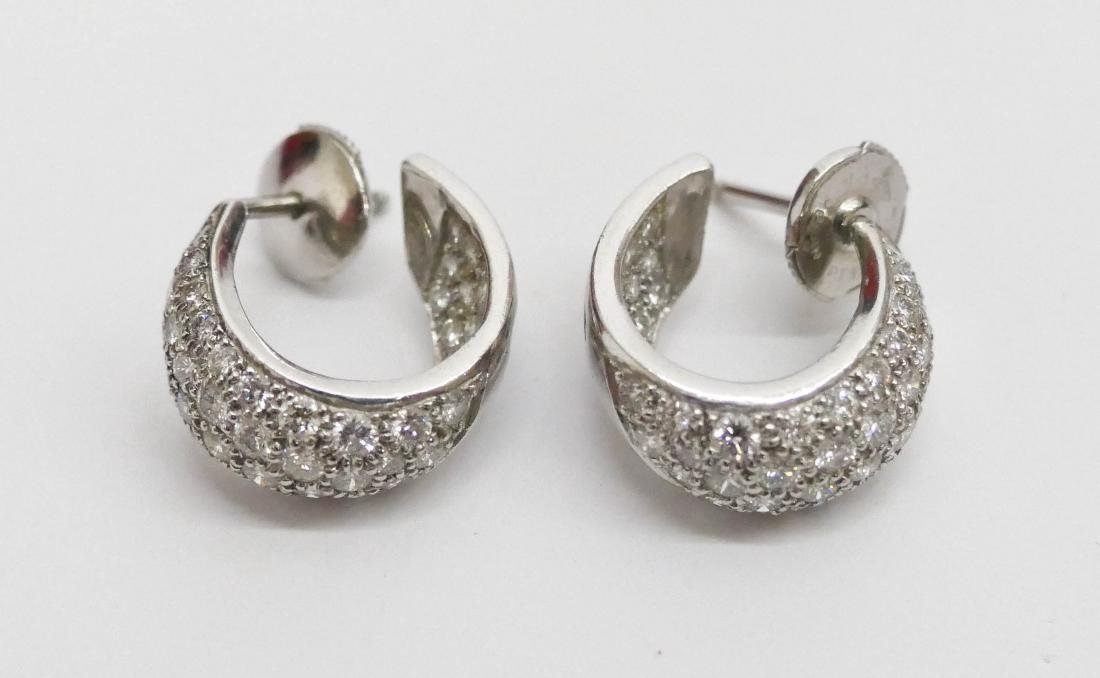 Pair Lady's Platinum & Diamond Hoop Earrings .75'' - 2
