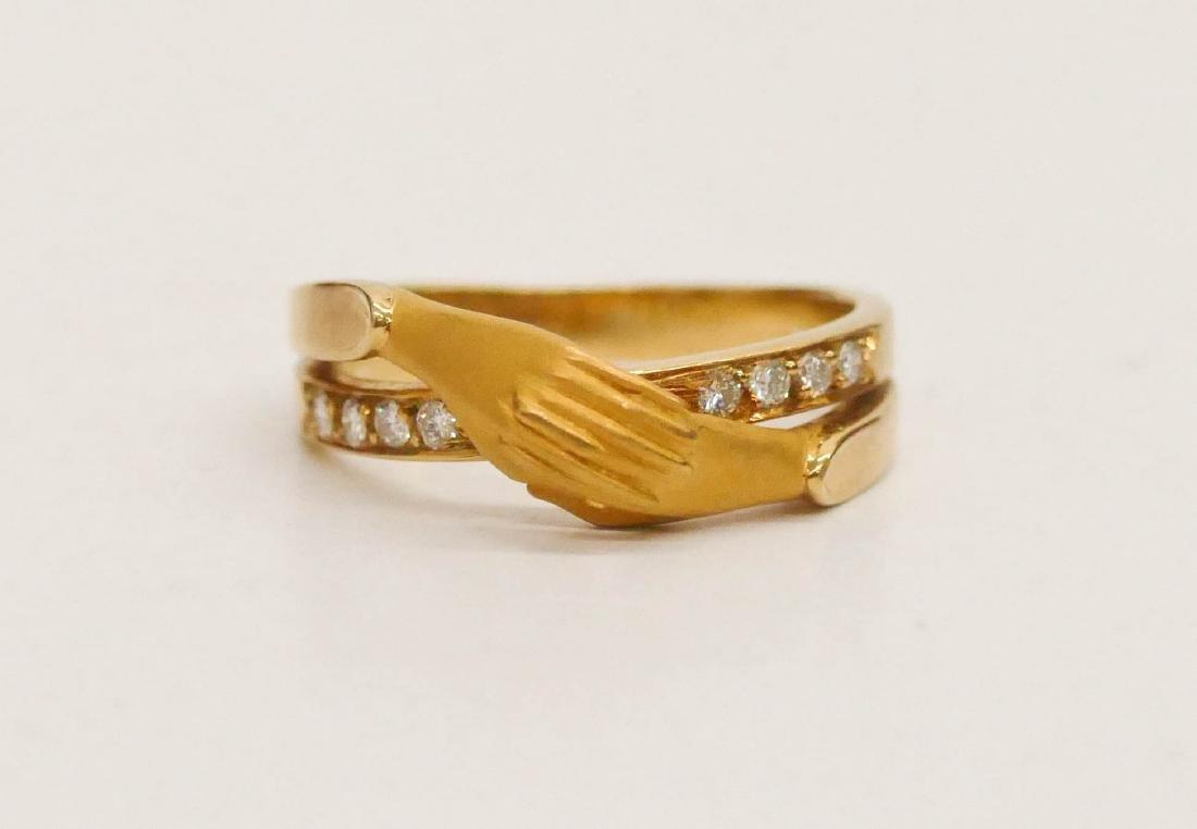 Carrera y Carrera Lady's 18k Diamond Hand Ring Size 6.