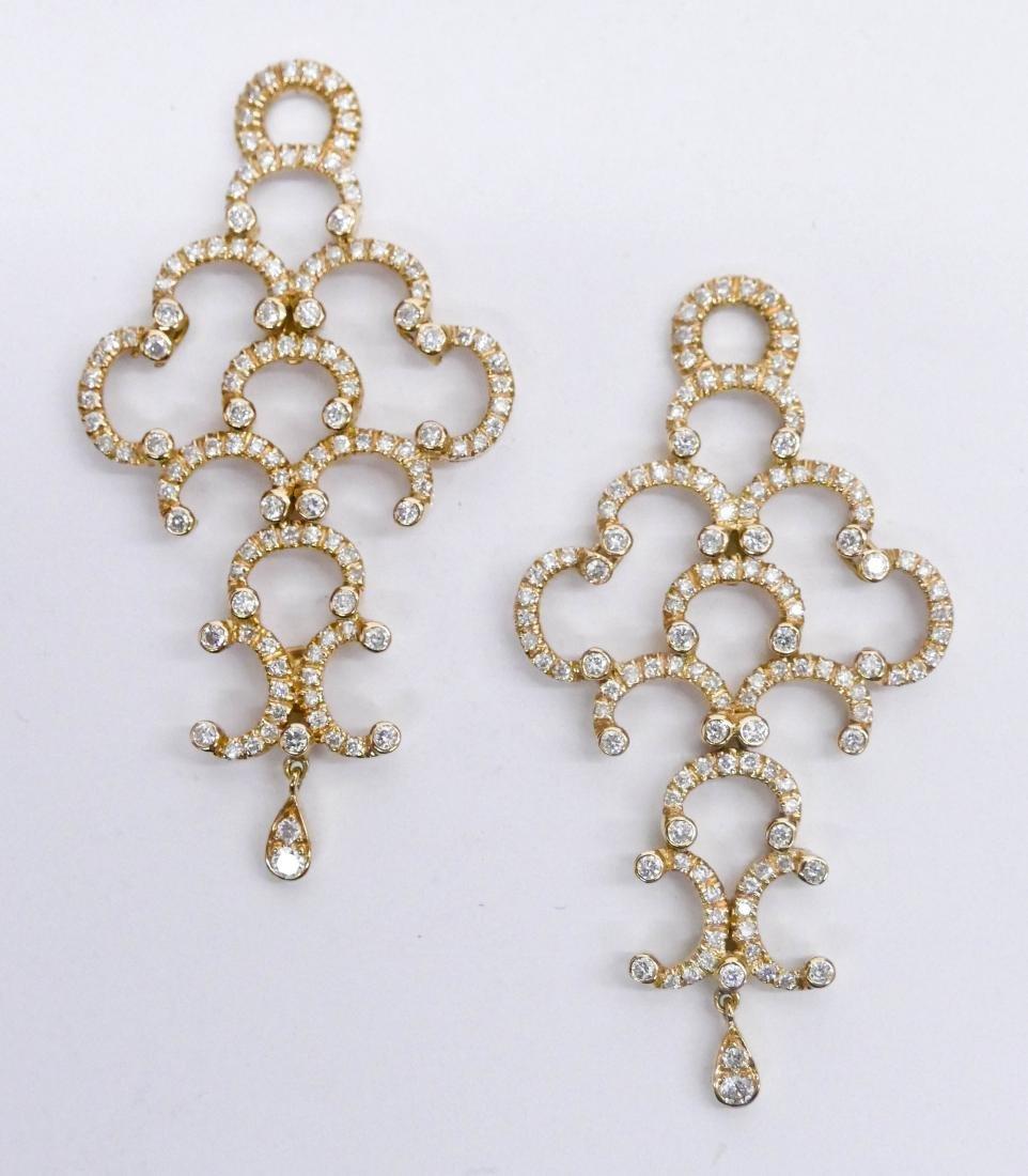 Pair Lady's 18k Diamond Earring Dangles 2''x1'' Each.