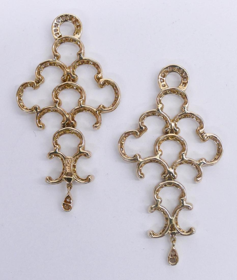 Pair Lady's 18k Diamond Earring Dangles 2''x1'' Each. - 2