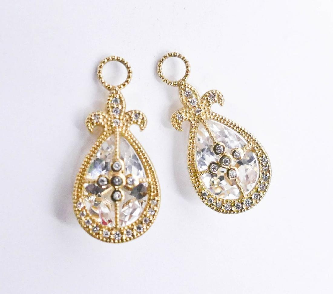 Pair JJF Lady's 18k Diamond & Rock Crystal Earring