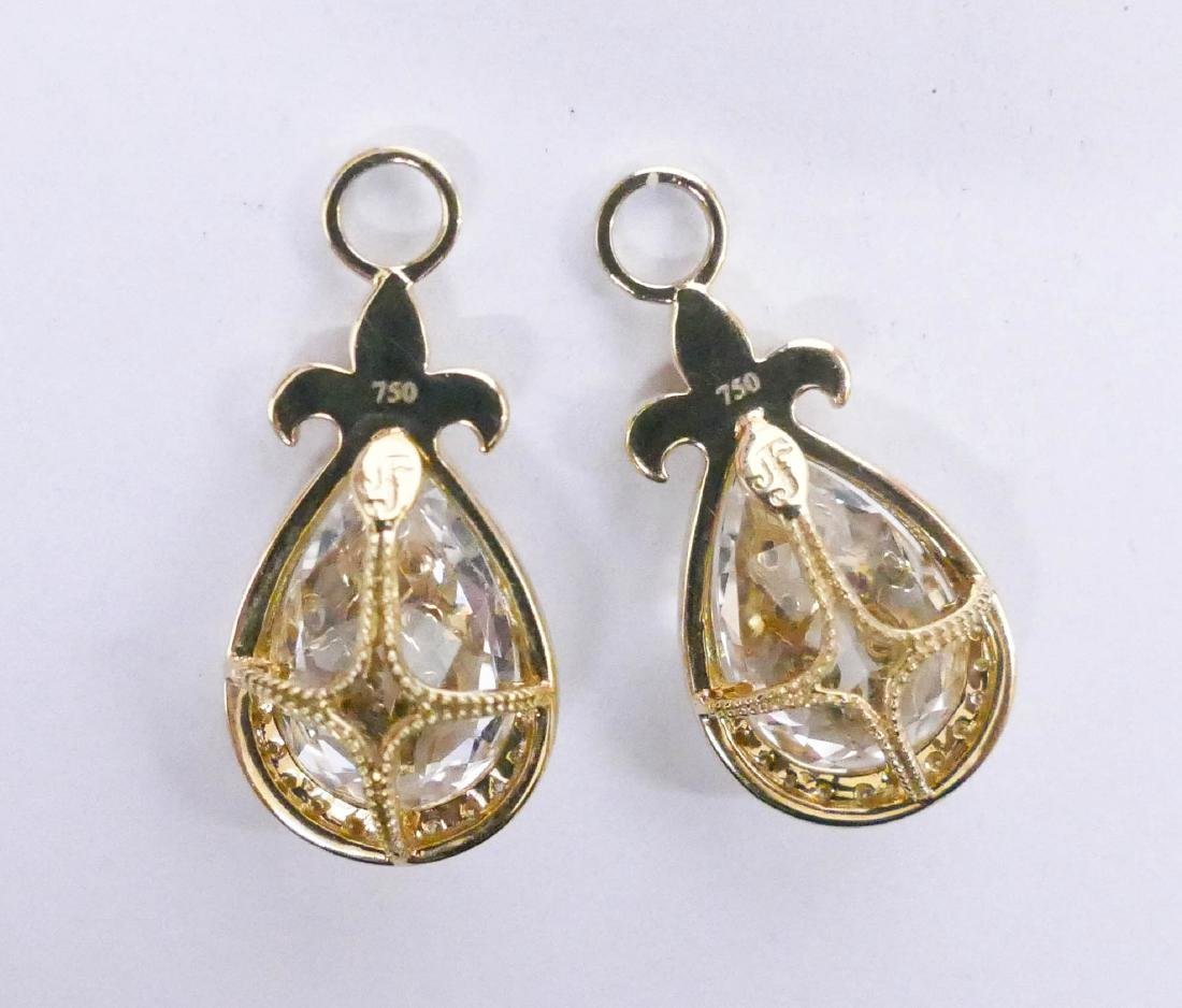 Pair JJF Lady's 18k Diamond & Rock Crystal Earring - 2