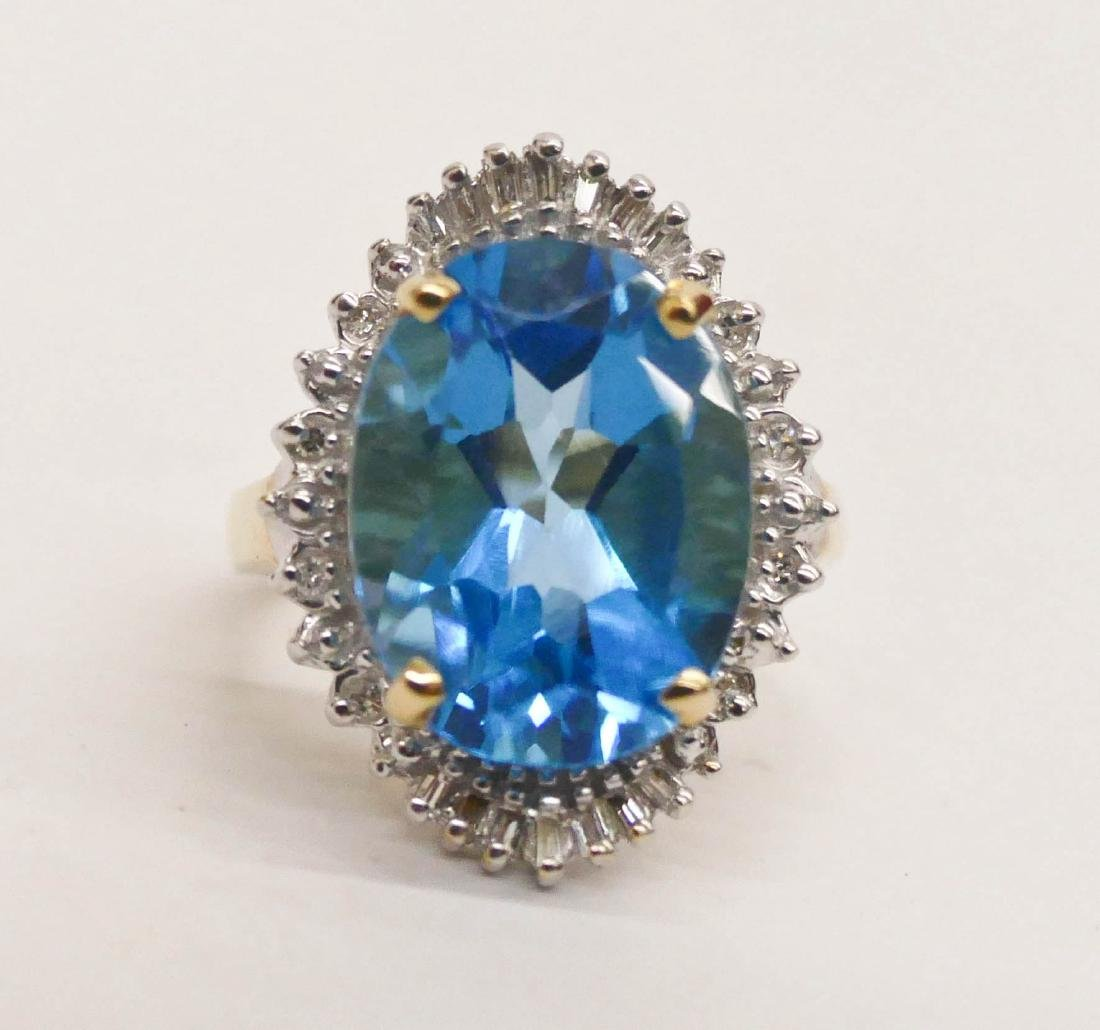 Lady's 10ct Blue Topaz & Diamond 14k Ring Size 7.