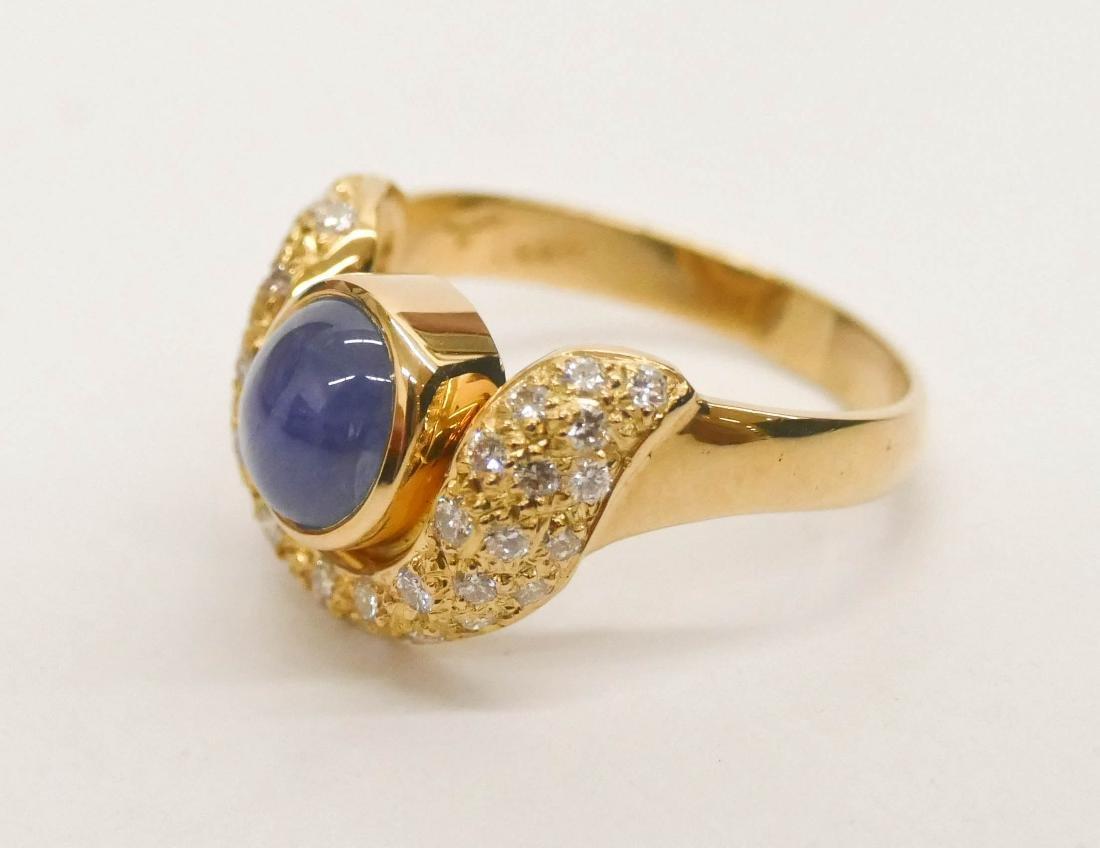 Brinkhaus Lady's 2.5ct Star Sapphire & Diamond 18k Ring - 2