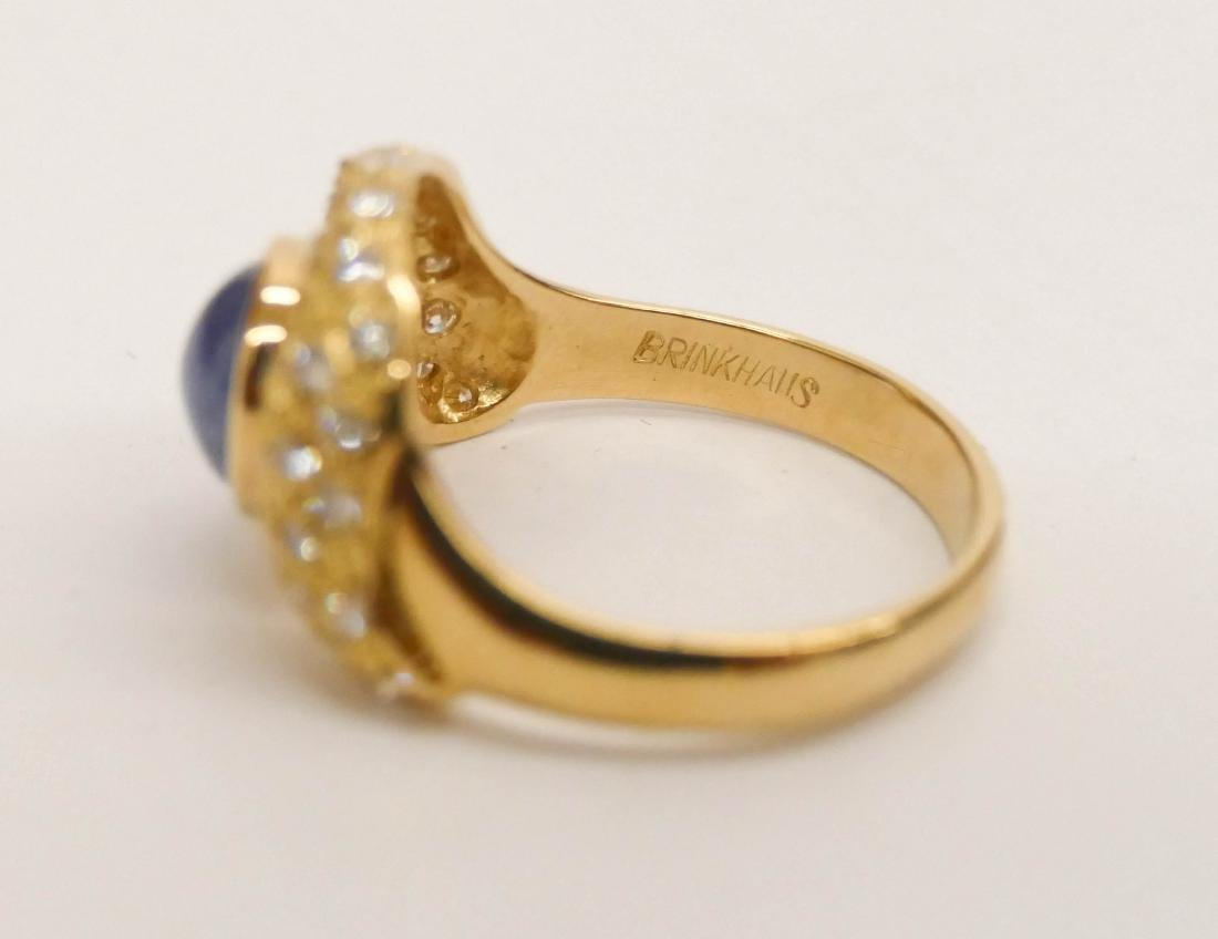 Brinkhaus Lady's 2.5ct Star Sapphire & Diamond 18k Ring - 4