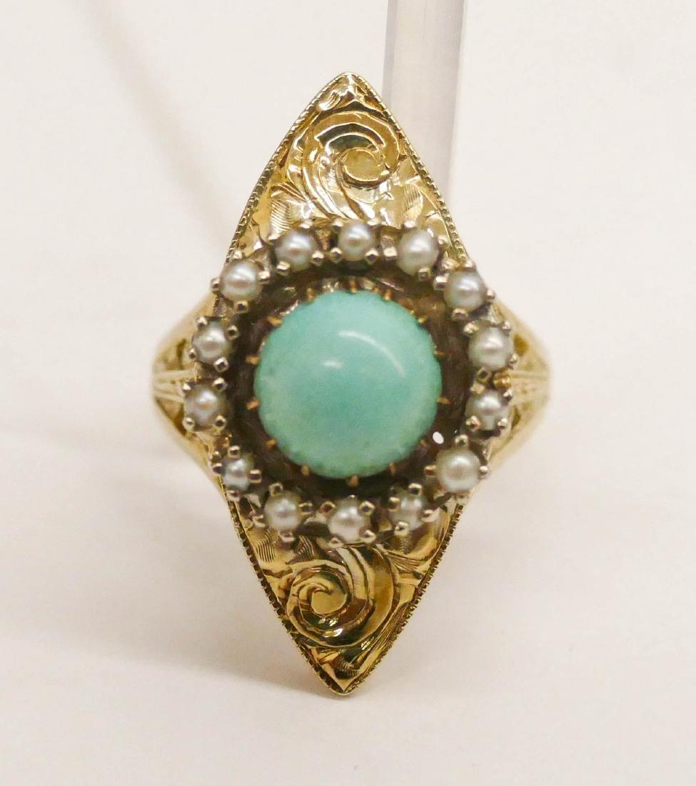 Edwardian Lady's 14k Turquoise & Pearl Ring Size 7.
