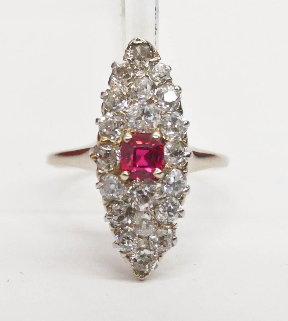 Edwardian Lady's Spinel & Diamond Marquise Ring Size