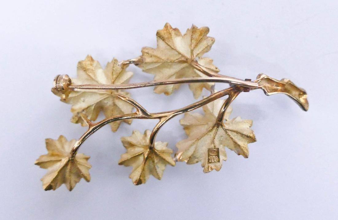 Lady's 18k Sapphire Leaf Spray Brooch 2.25''x1.25''. - 2