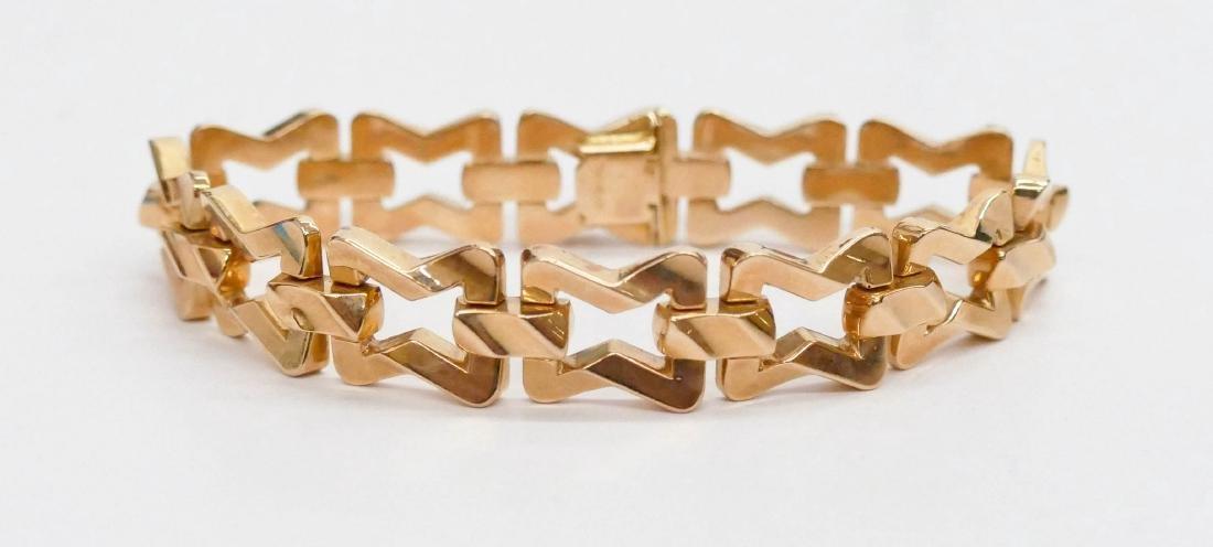 18k Rose Gold Hollow Link Bracelet 7.5''x.5''. Marked