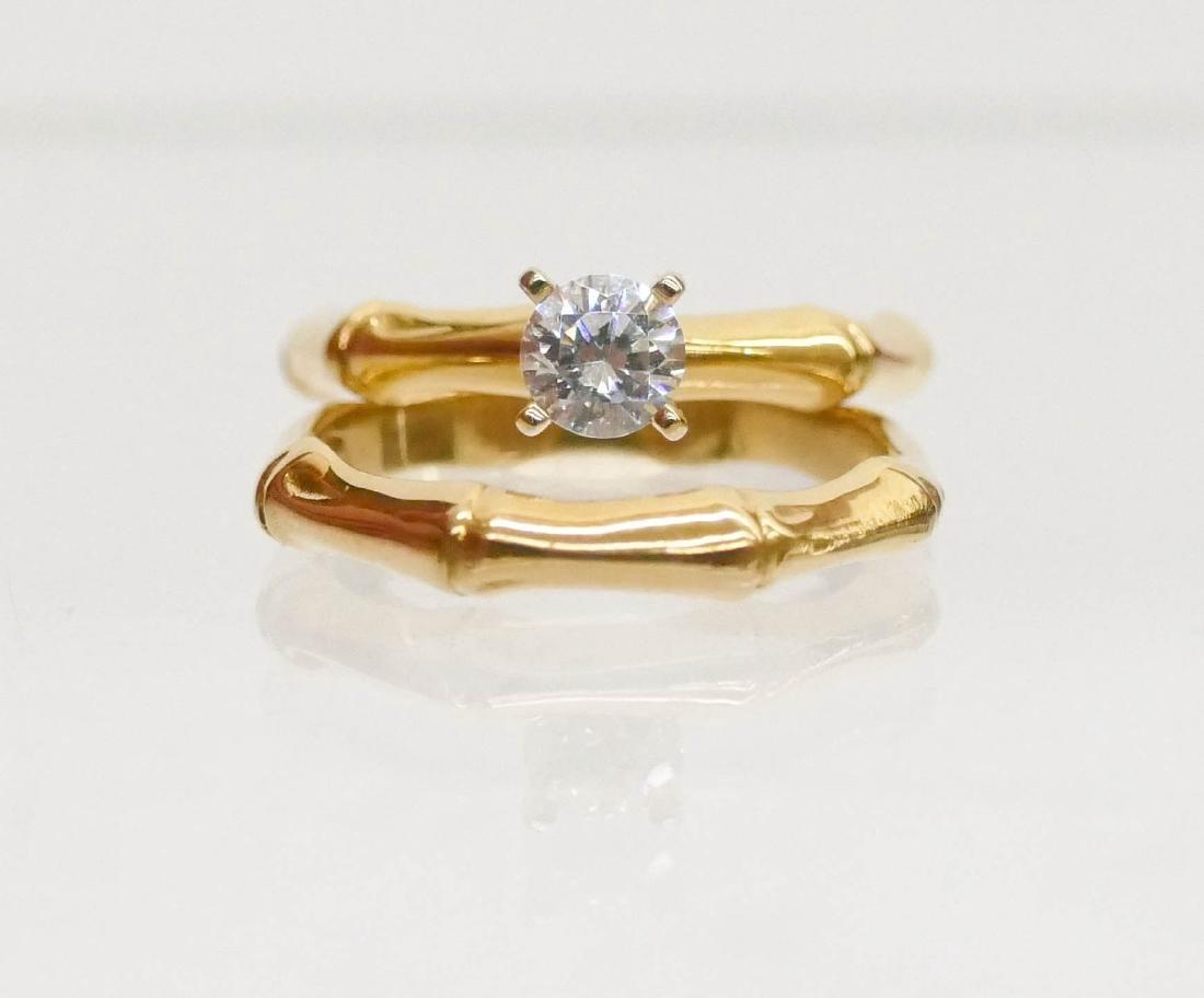 Karl Stittgen 18k Bamboo Wedding Ring Set Size 7.