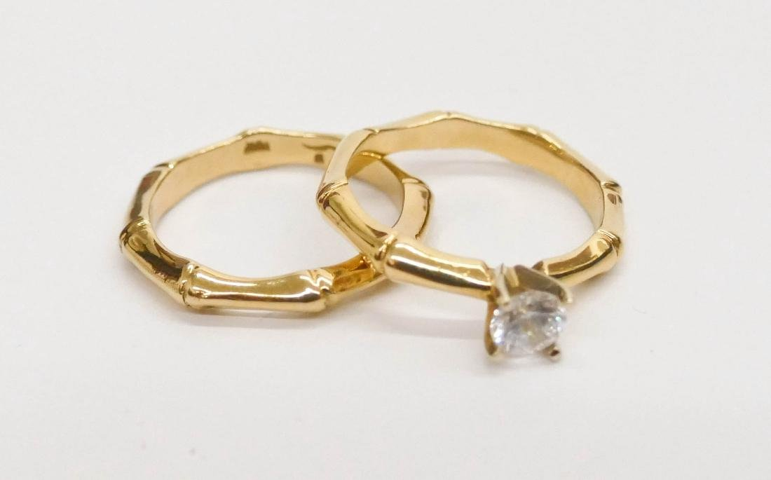 Karl Stittgen 18k Bamboo Wedding Ring Set Size 7. - 2