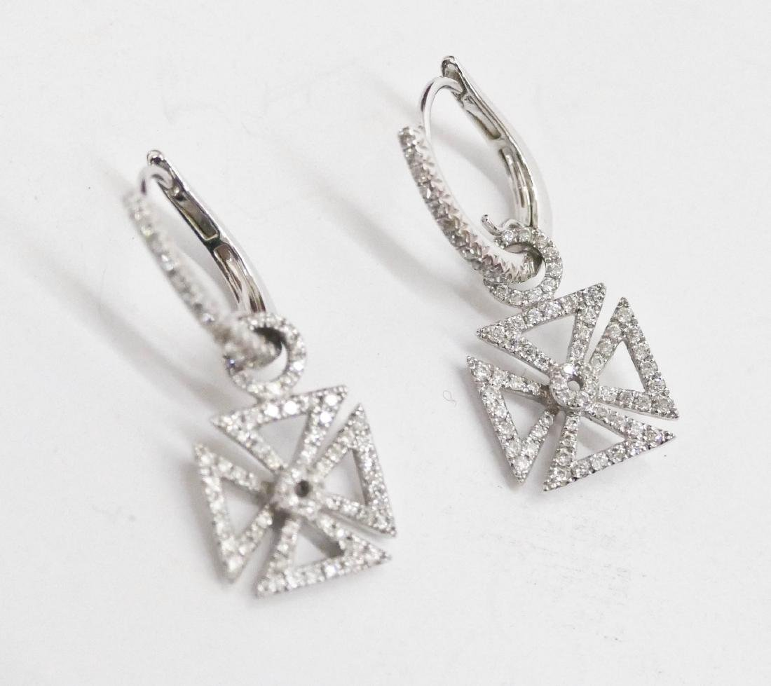 Hidalgo Pair of Lady's 18k Diamond Maltese Cross - 2