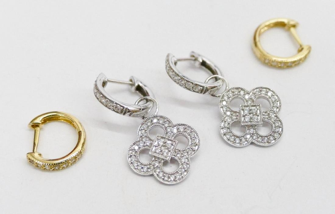 2 Pairs of JJF Lady's 18k Diamond Earrings. Includes a
