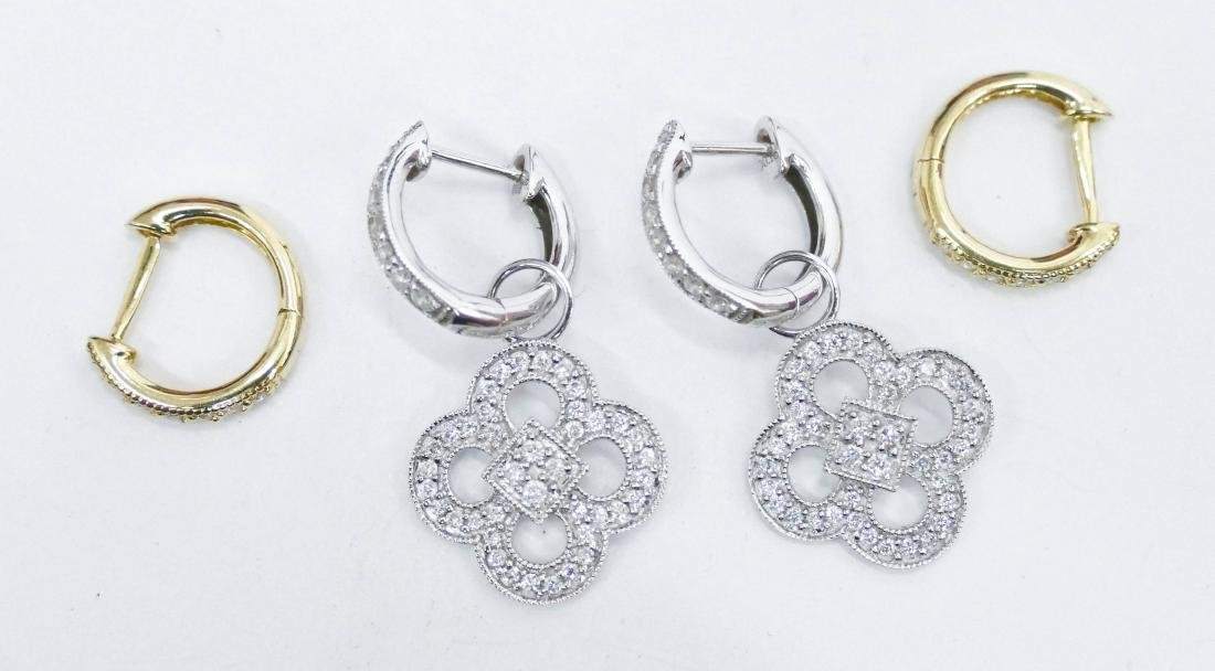 2 Pairs of JJF Lady's 18k Diamond Earrings. Includes a - 2