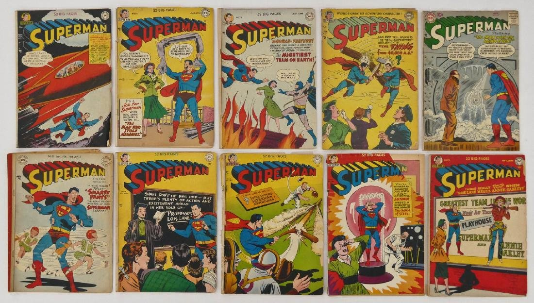 10pc Superman Golden Age Comic Books. Includes issues - 2