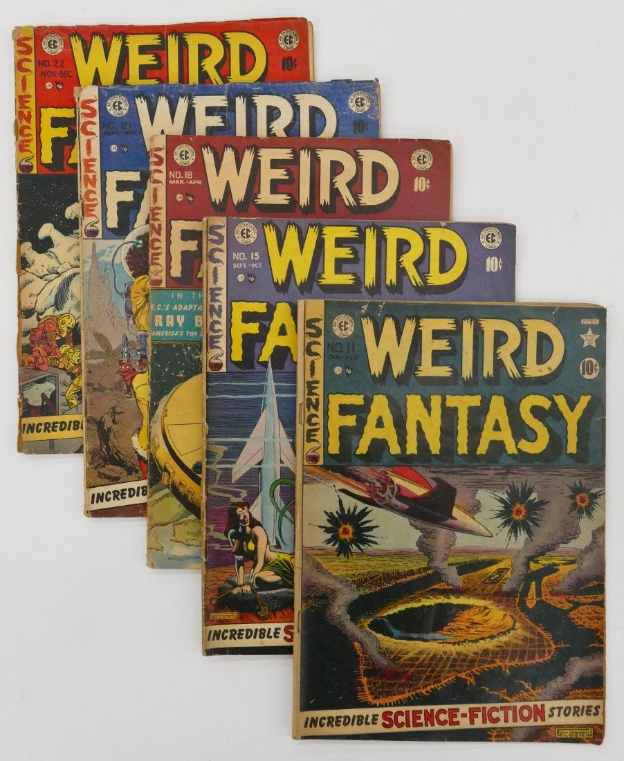 5pc Weird Fantasy Golden Age Comic Books. Includes