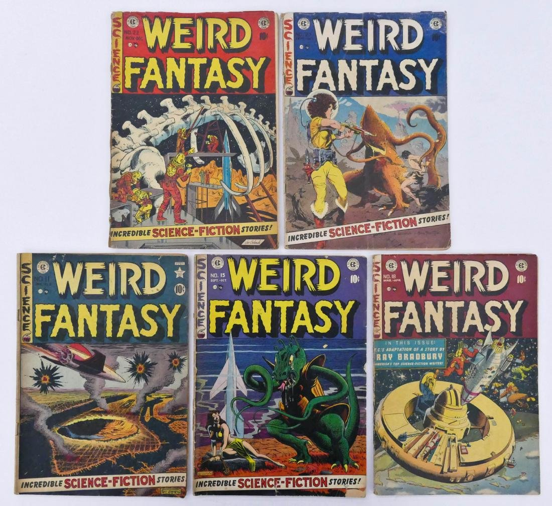 5pc Weird Fantasy Golden Age Comic Books. Includes - 2