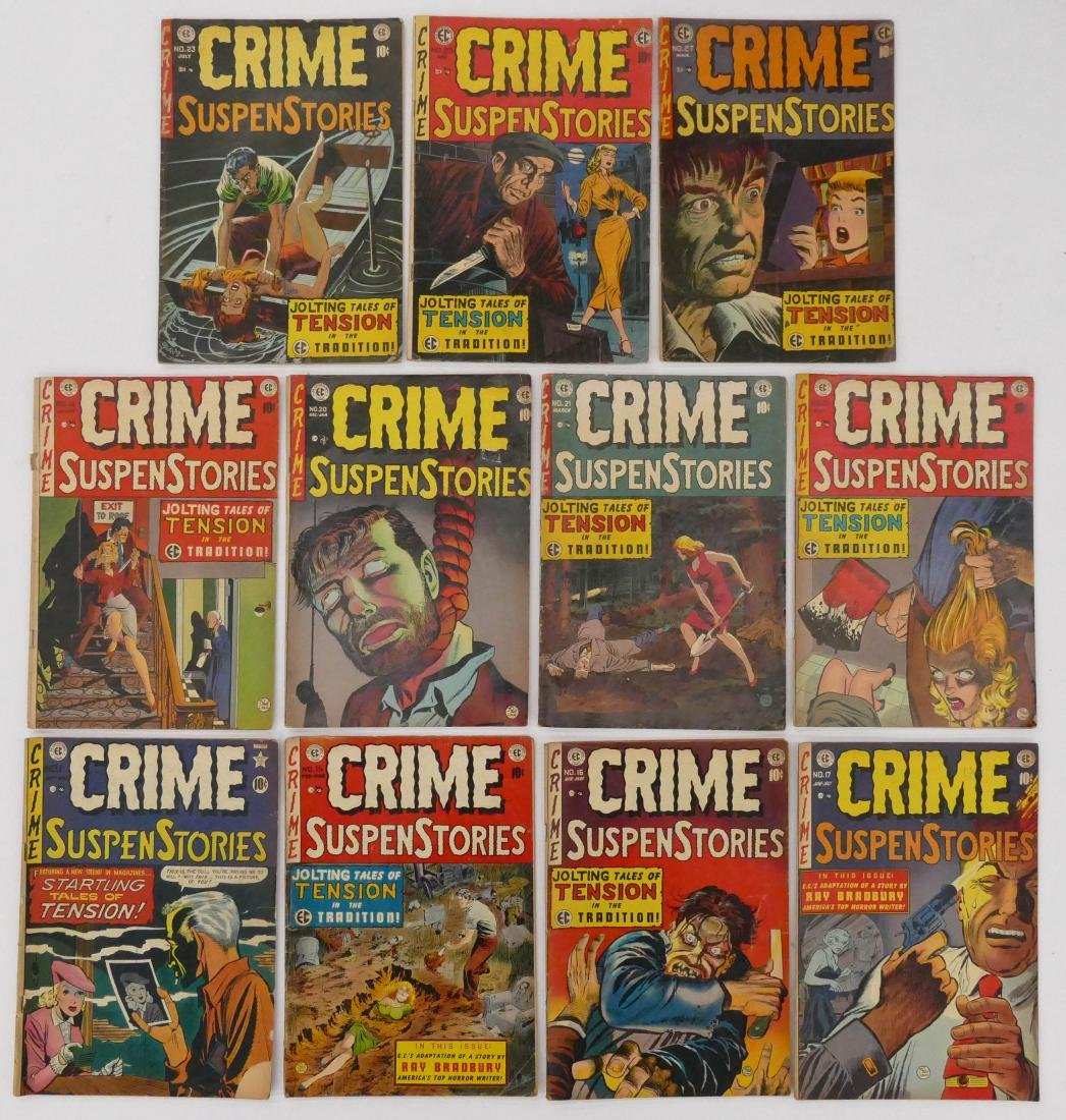 11pc Crime SuspenStories Golden Age Comic Books. - 2