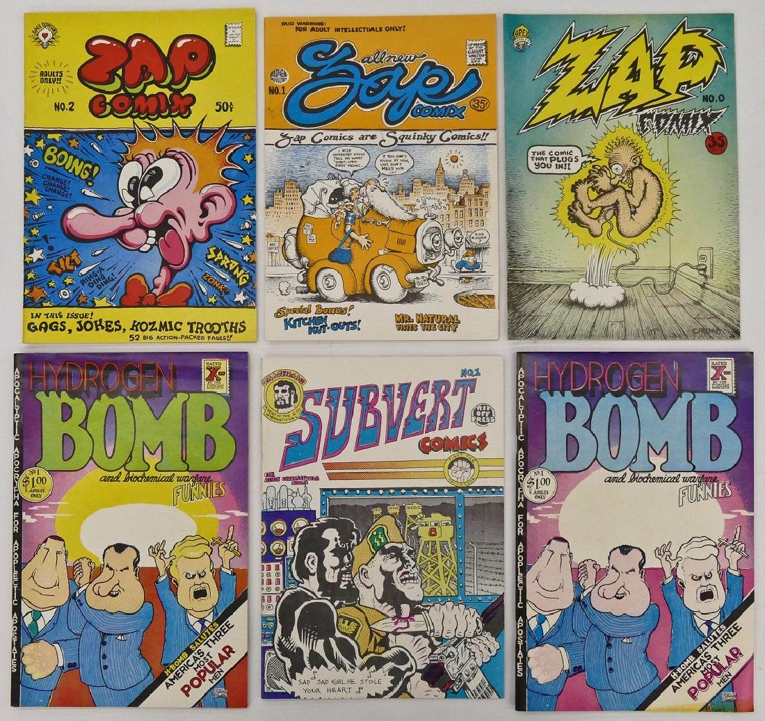 8pc Underground Comic Books. Includes ZAP issues 0-2, - 2
