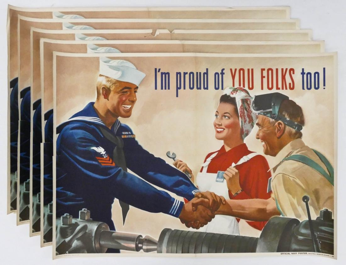 5pc WWII I'm Proud of You Too! US Navy War Posters