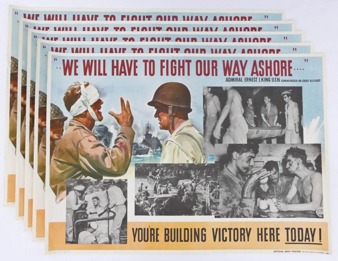 5pc WWII Fight Our Way Ashore! US Navy War Posters