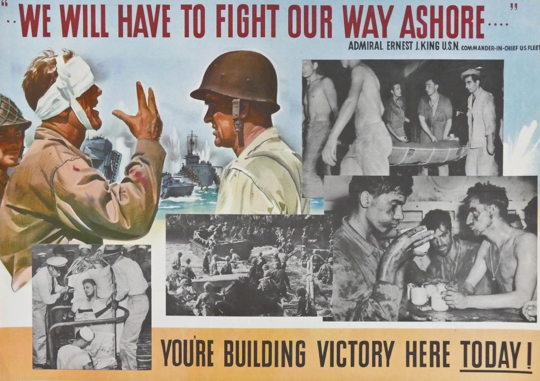 5pc WWII Fight Our Way Ashore! US Navy War Posters - 2