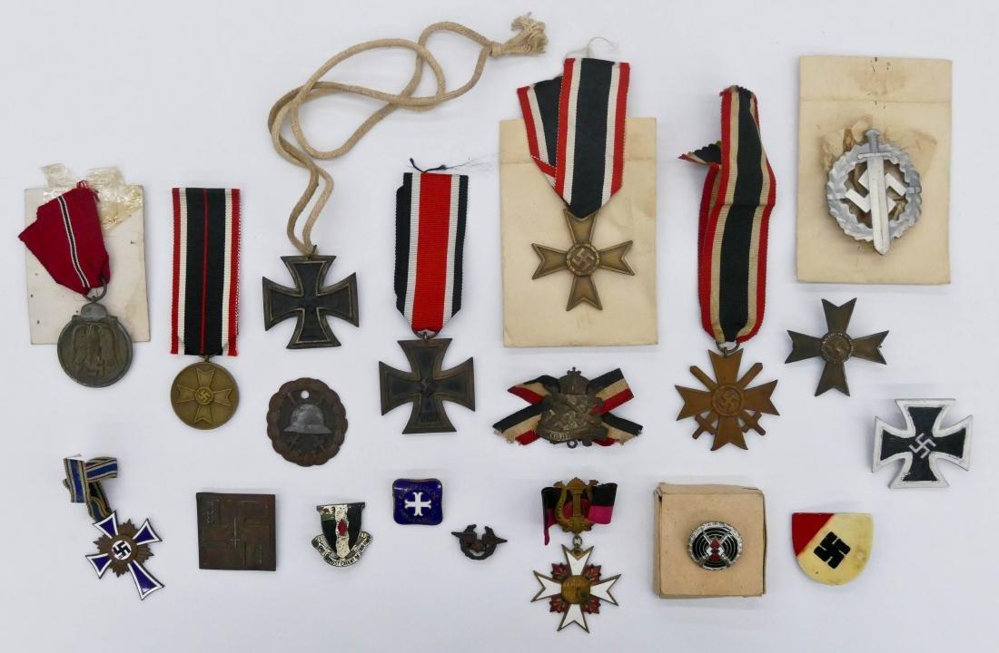 19pc WWII German Medals & Iron Crosses. Sizes range