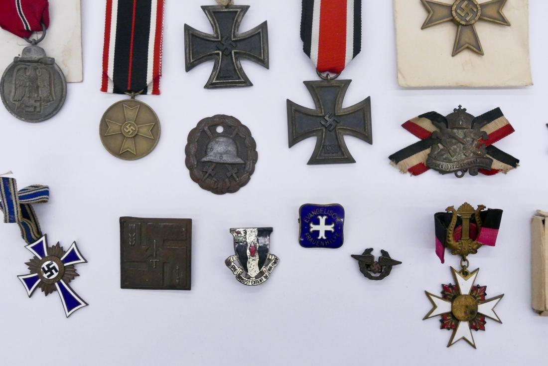 19pc WWII German Medals & Iron Crosses. Sizes range - 2