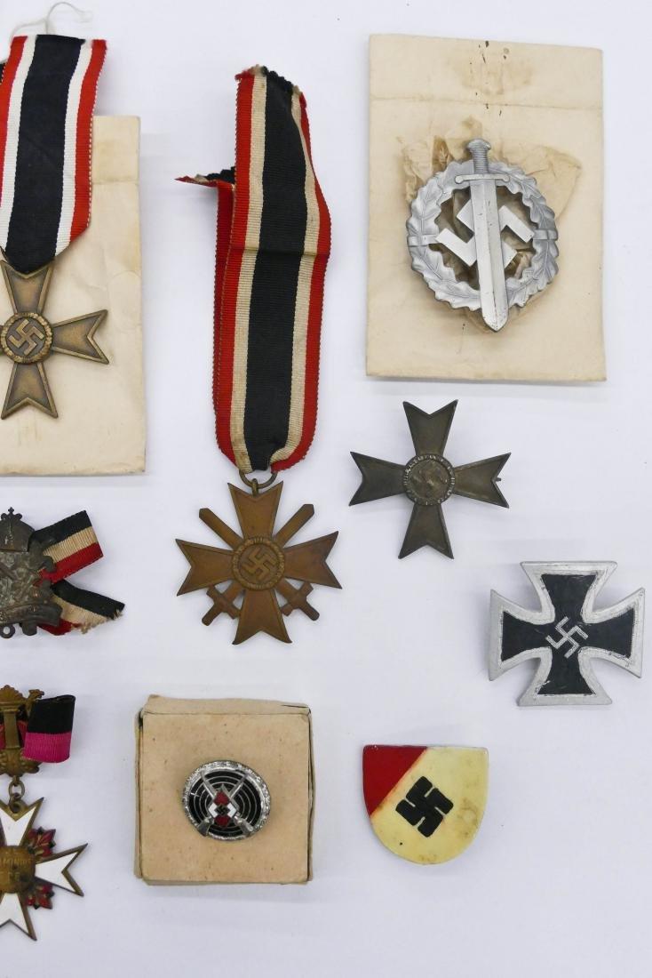 19pc WWII German Medals & Iron Crosses. Sizes range - 3