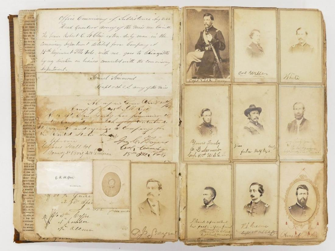 "Civil War CDV Scrapbook of Union Soldiers 12""x8"". This"