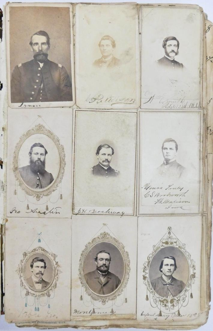 "Civil War CDV Scrapbook of Union Soldiers 12""x8"". This - 5"