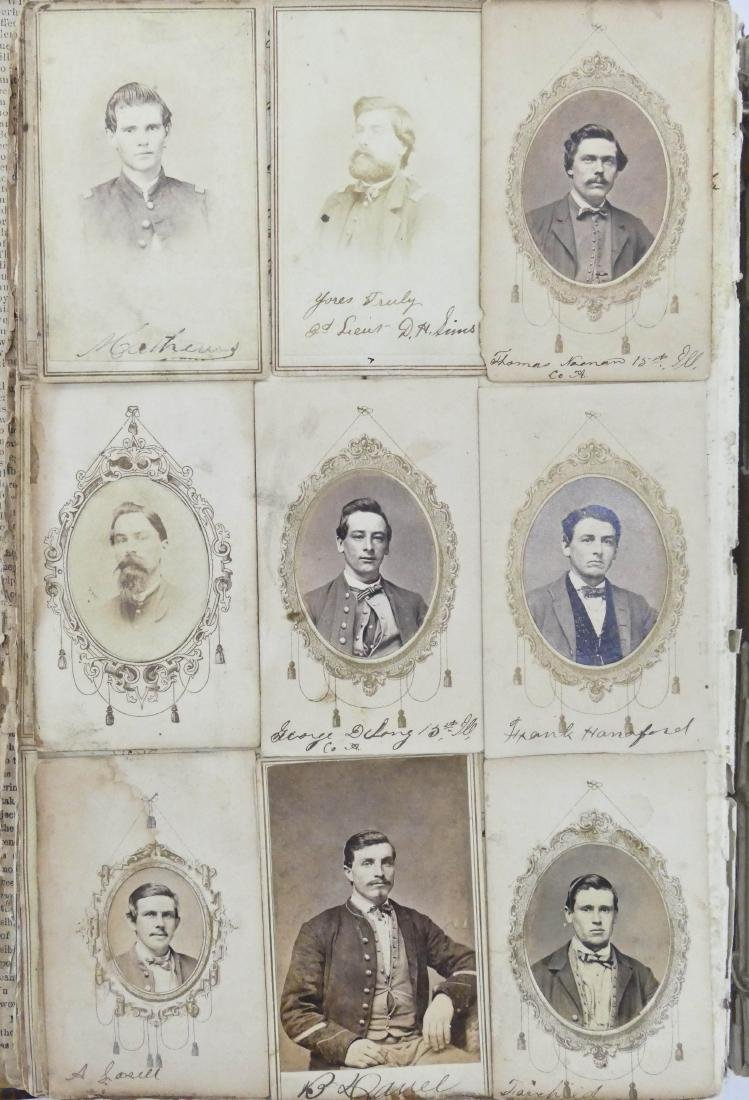 "Civil War CDV Scrapbook of Union Soldiers 12""x8"". This - 6"