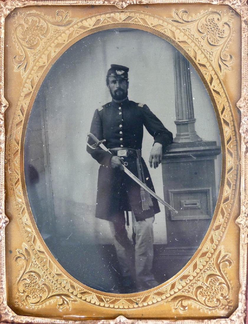 Civil War Soldier with Sword Quarter Plate Ambrotype. A