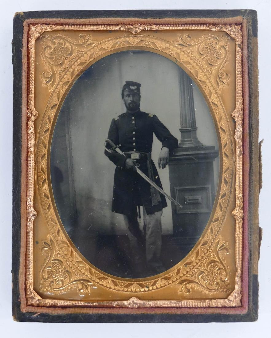 Civil War Soldier with Sword Quarter Plate Ambrotype. A - 2