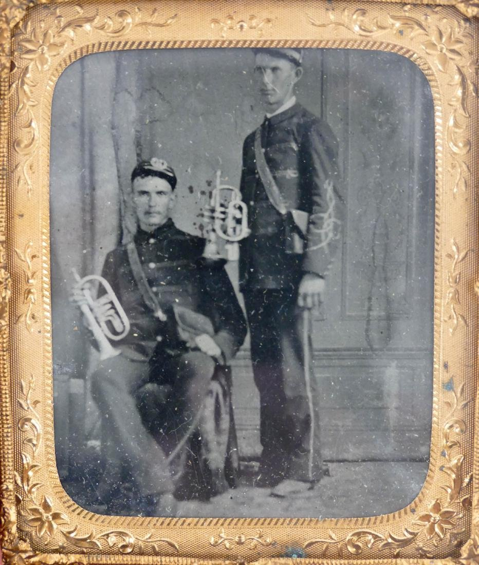 Civil War Pair of Trumpet Players Sixth Plate Tintype.