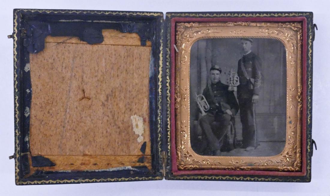 Civil War Pair of Trumpet Players Sixth Plate Tintype. - 2