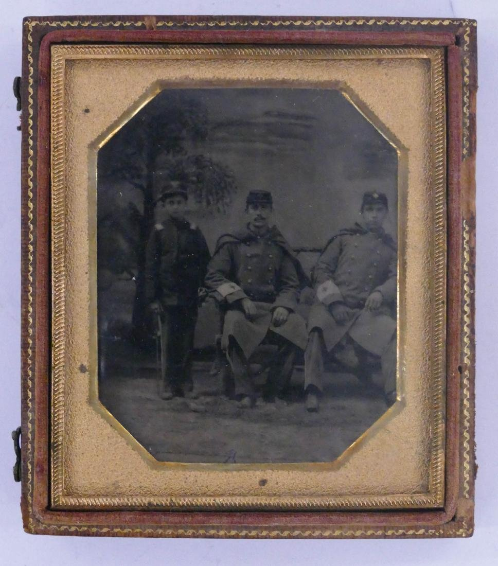 Civil War Male Nurses with Child Sixth Plate Tintype. - 2