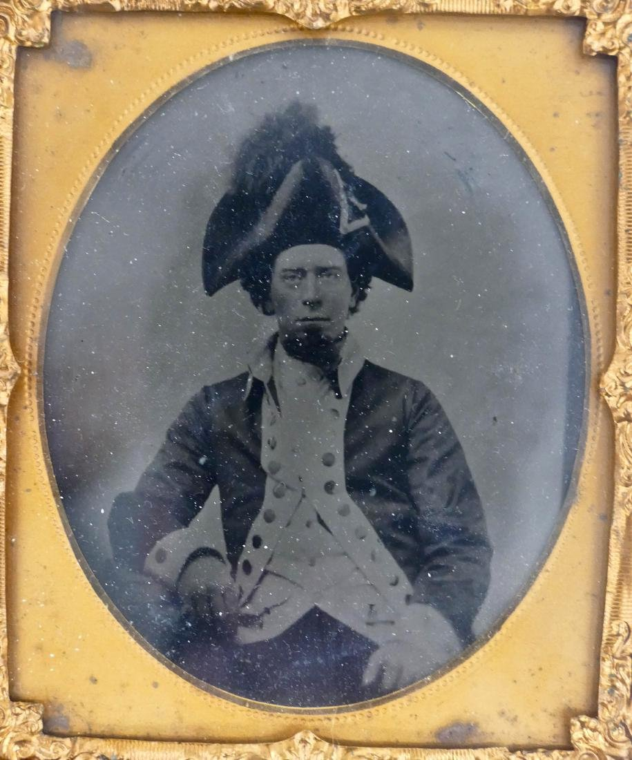 Civil War French Marshal Sixth Plate Tintype. A seated