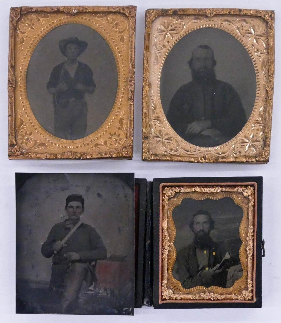 4pc Civil War Soldier Tintype Photographs. Includes a