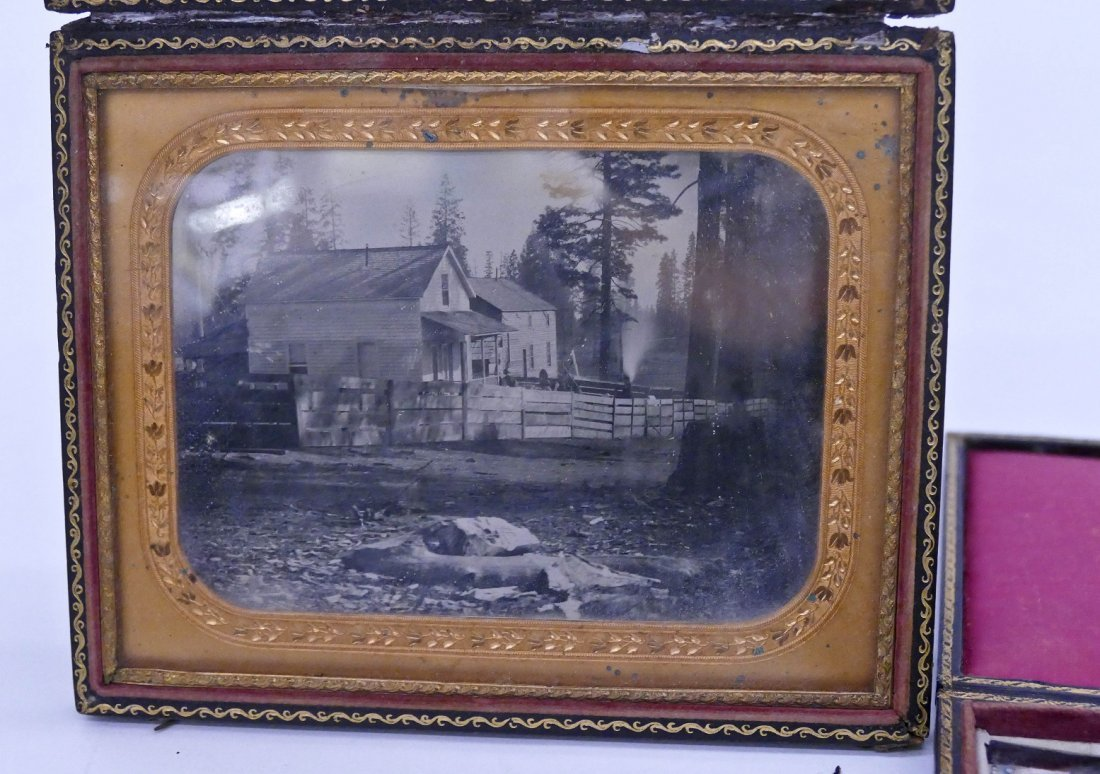 2pc Antique Homestead Half Plate Daguerreotypes. Two - 3