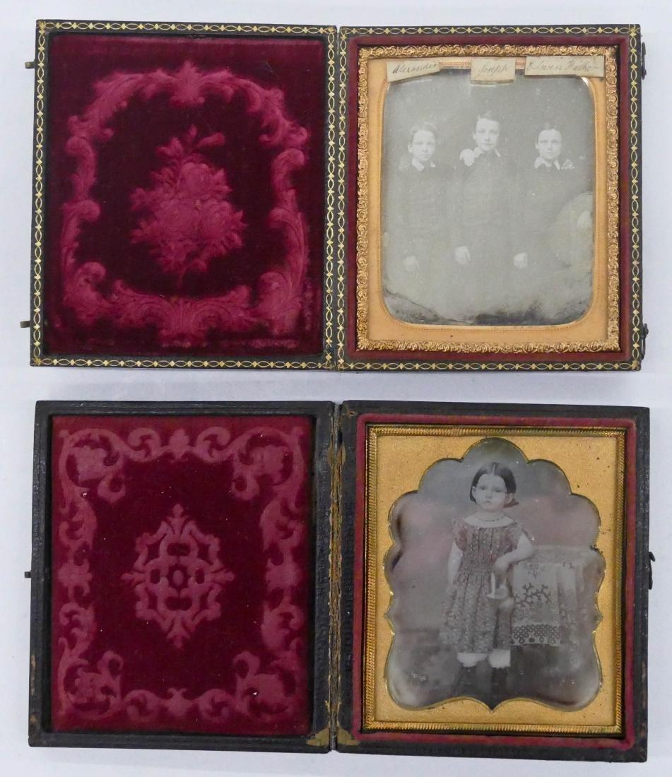 2pc Antique Children Sixth Plate Daguerreotypes. - 2