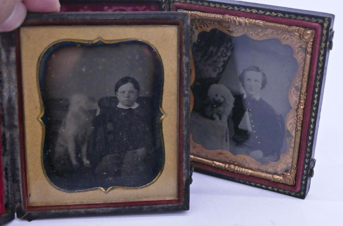2pc Antique Children with Dogs Sixth Plate Photographs.