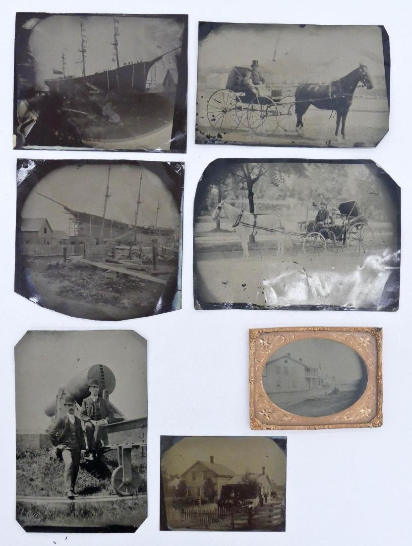 7pc Antique Large Tintype Photographs. Sizes range from