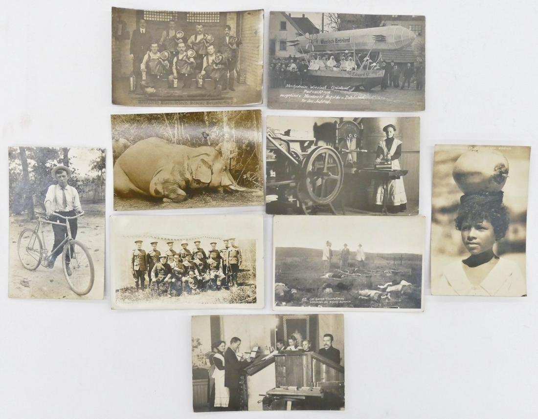 9pc Interesting Subject Matter Real Photo Postcards.