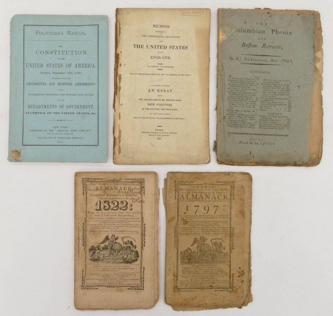 5pc Early American Booklets & Almanacks. Includes